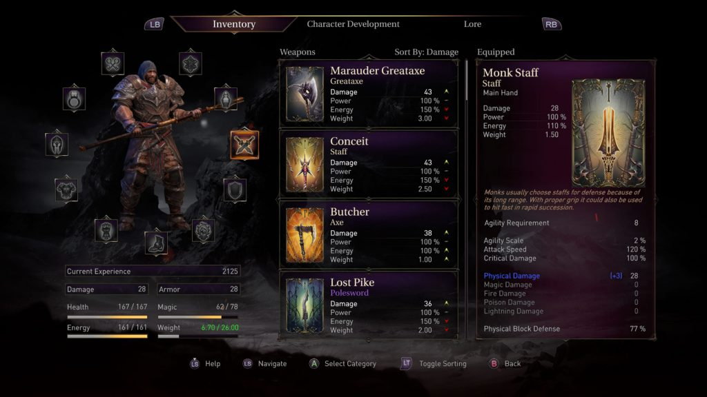 lords of the fallen inventory